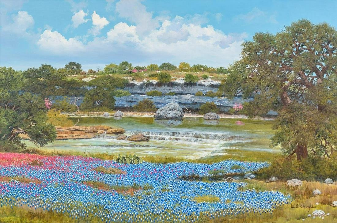 """William Slaughter (1923-2003), """"Bluebonnets and Oaks"""","""