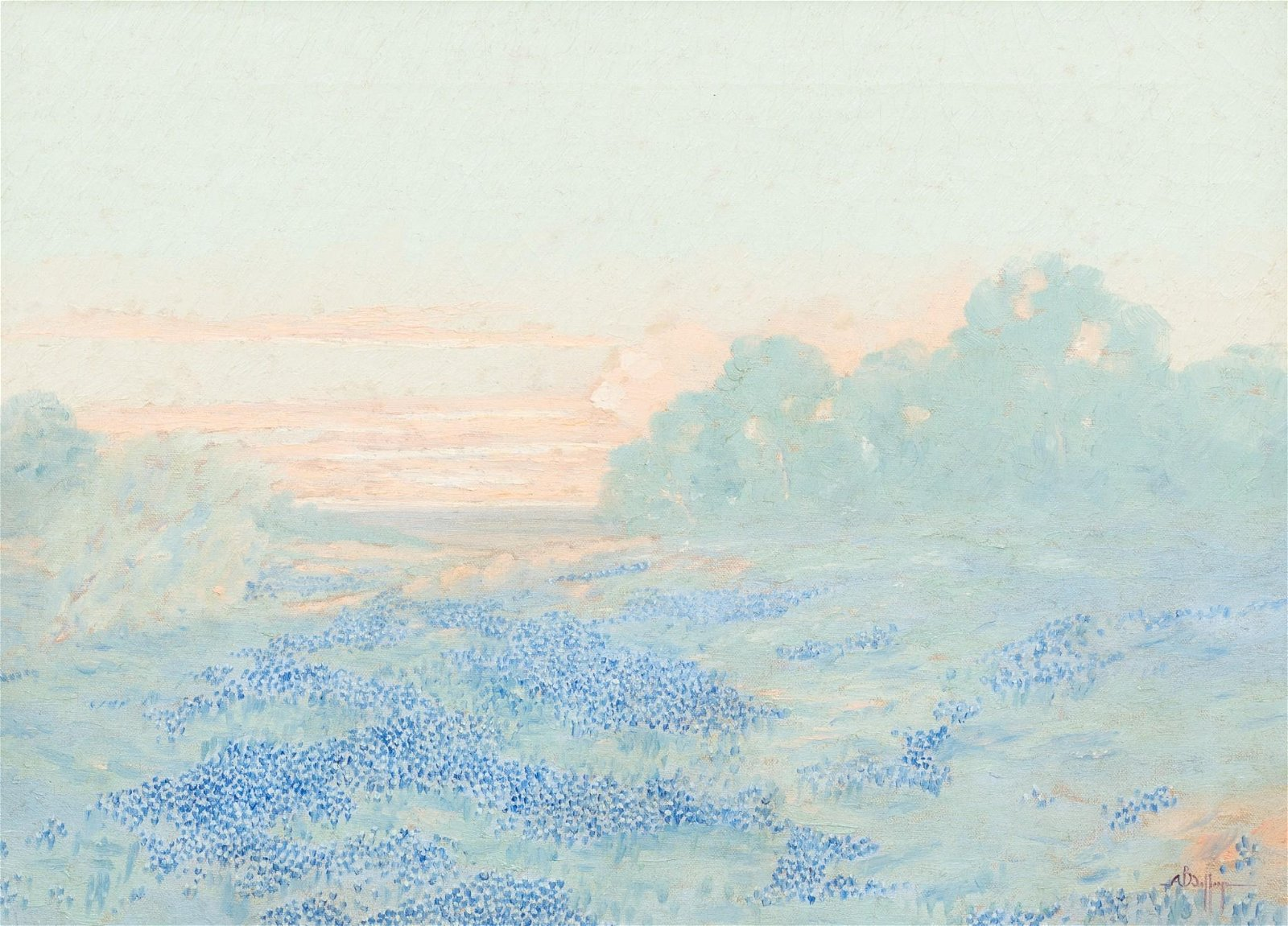 A.B. Jeffreys (1892-1970), Bluebonnets at Sunset, oil