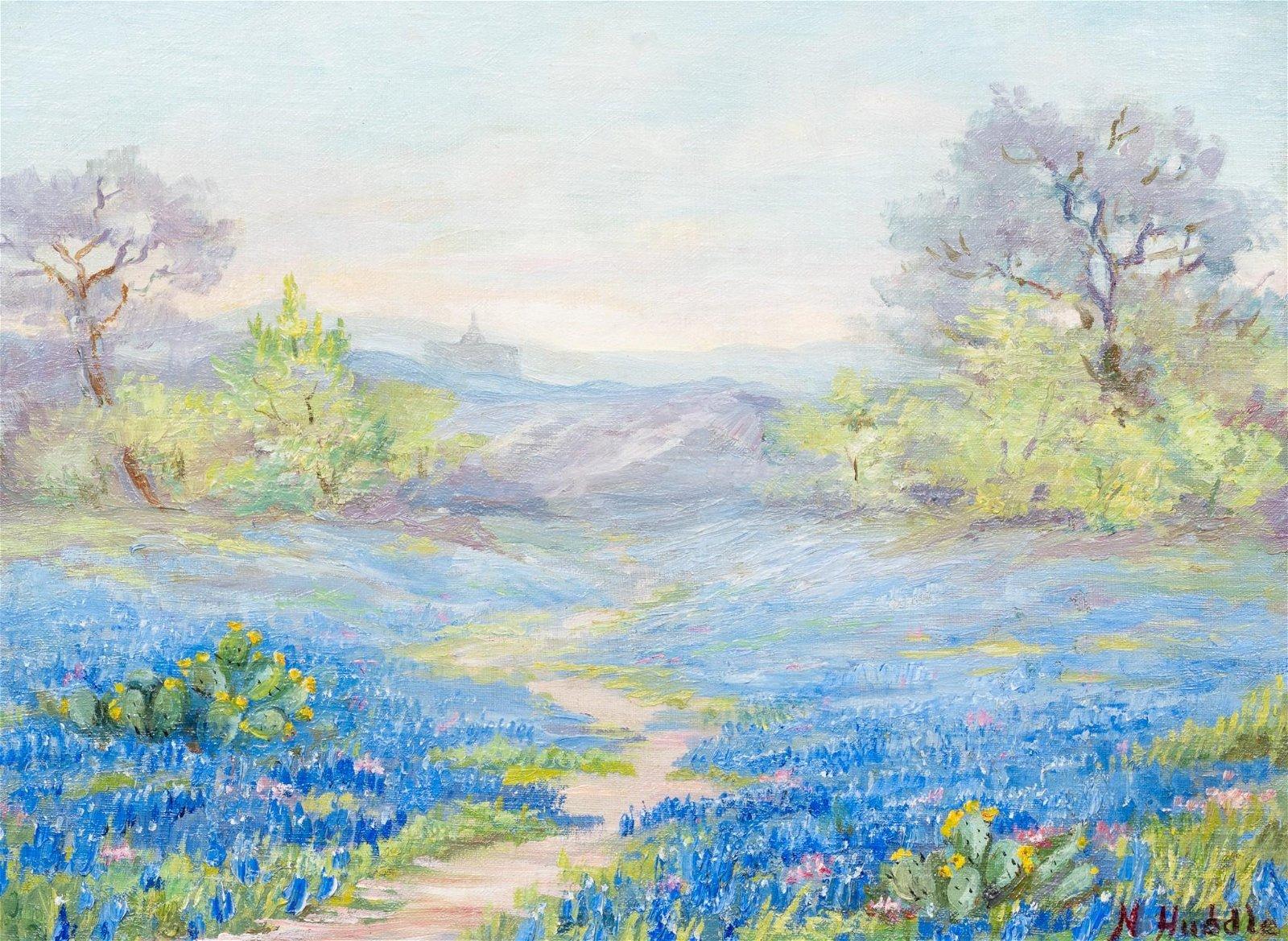 Nannie Huddle (1860-1951), Bluebonnets, Austin, oil