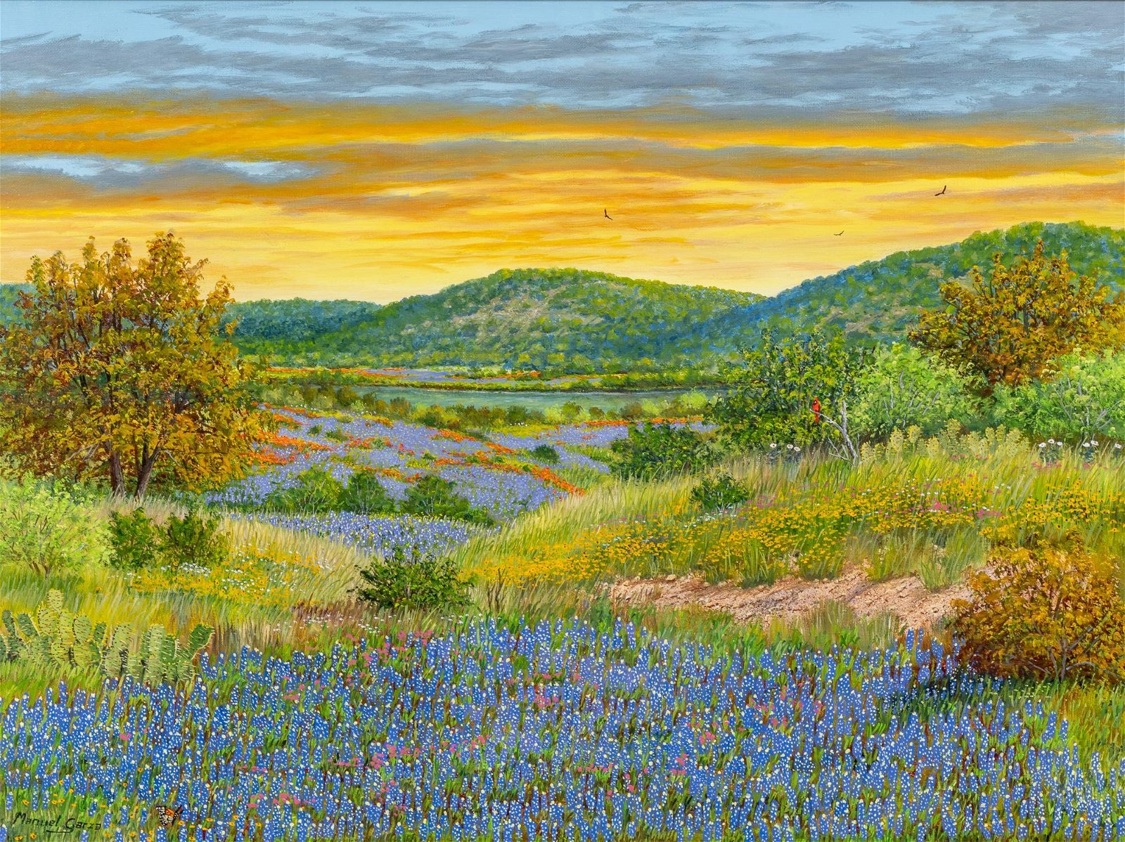 "Manuel Garza (b. 1940), ""Sunset-Bluebonnet"", 2016, oil"