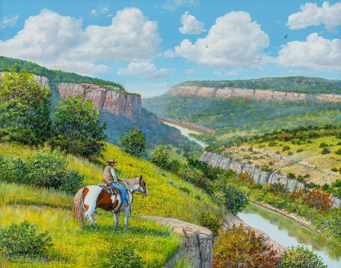 """Manuel Garza (b. 1940), """"Cowboy"""", oil on canvas"""