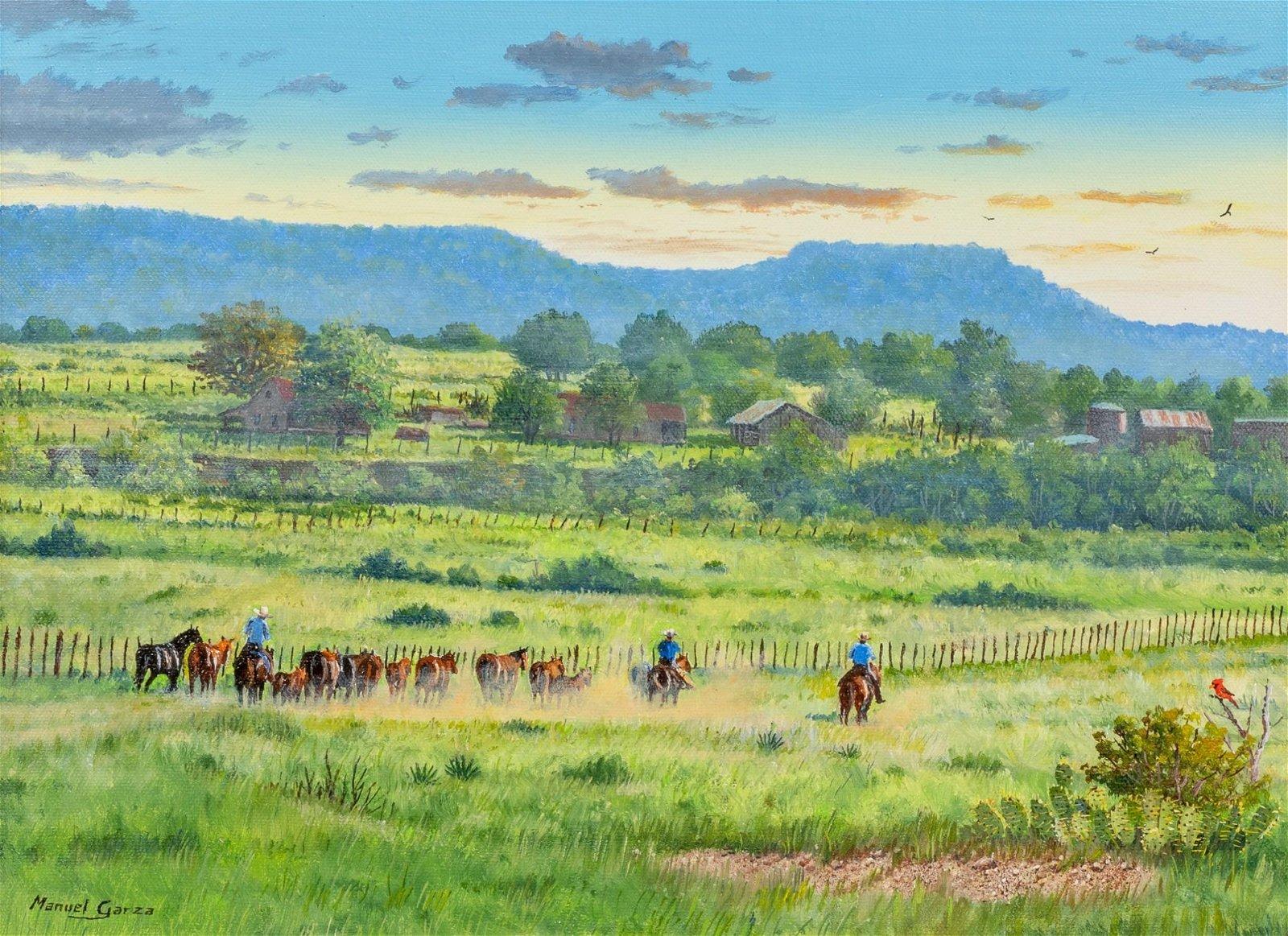 "Manuel Garza (b. 1940), ""Heading Them Home"", oil"