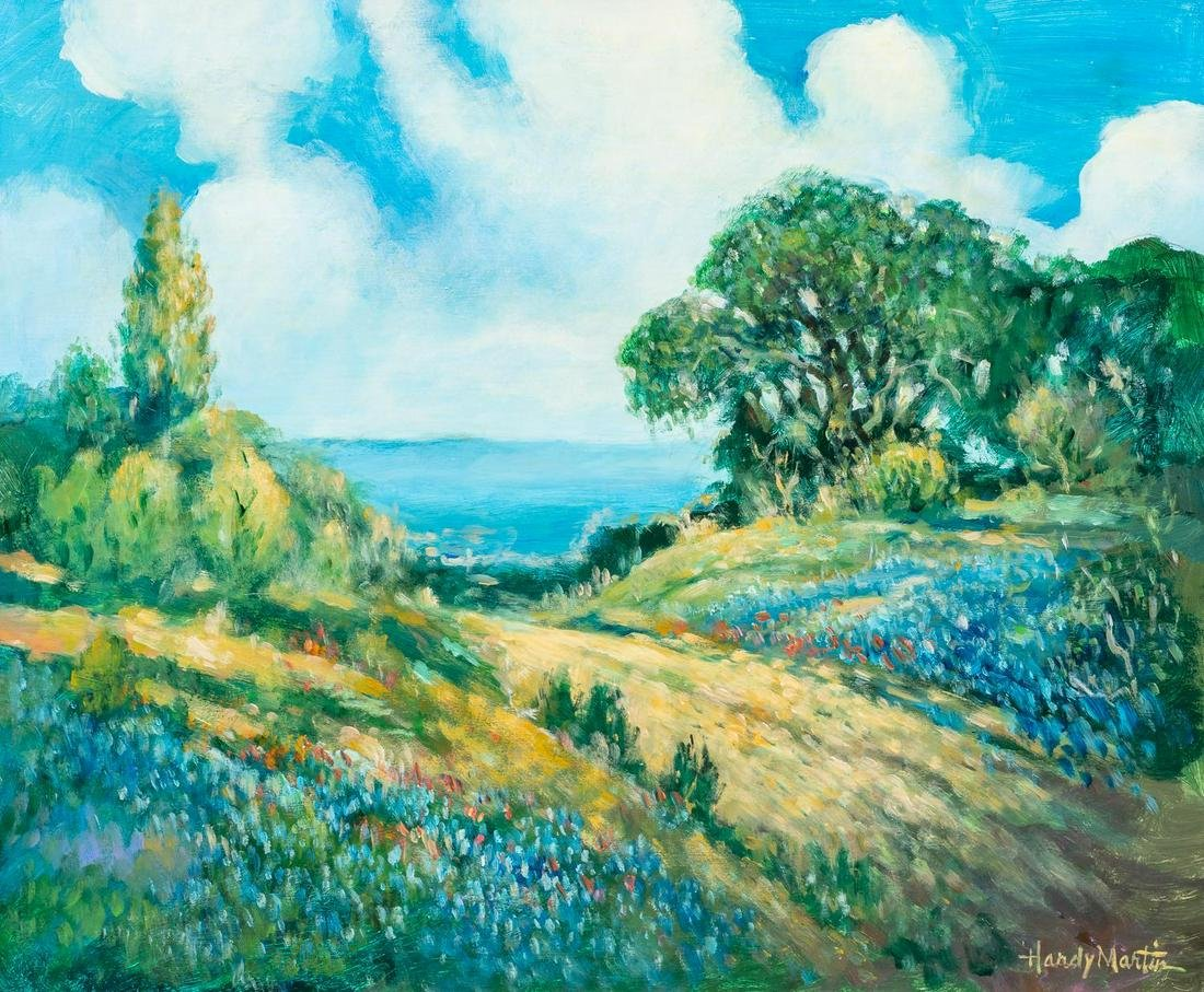 """Hardy Martin, """"Bluebonnet Road Home"""", oil on canvas"""