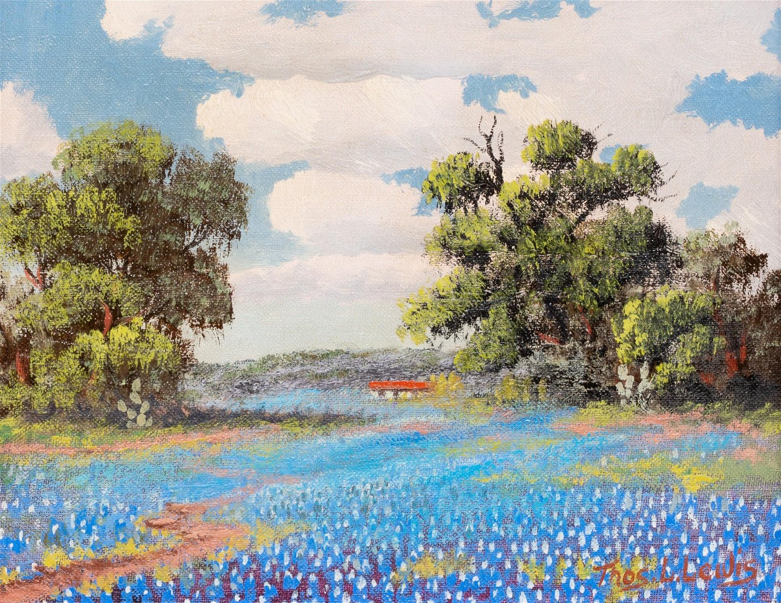 "Thomas L. Lewis (1907-1978), ""Texas Bluebonnets"", oil"