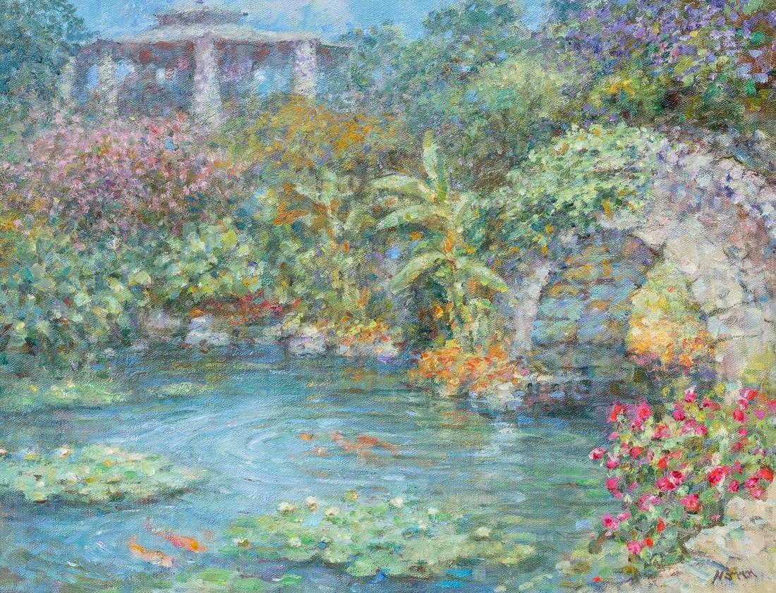 "Robert Hamman (b. 1938), ""Japanese Sunken Gardens"", oil"