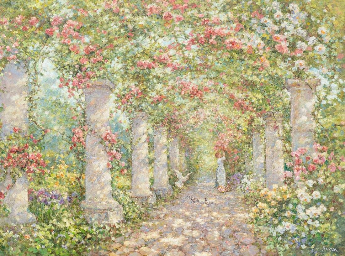 Robert Hamman (b. 1938), Rose Gardens, oil on canvas,