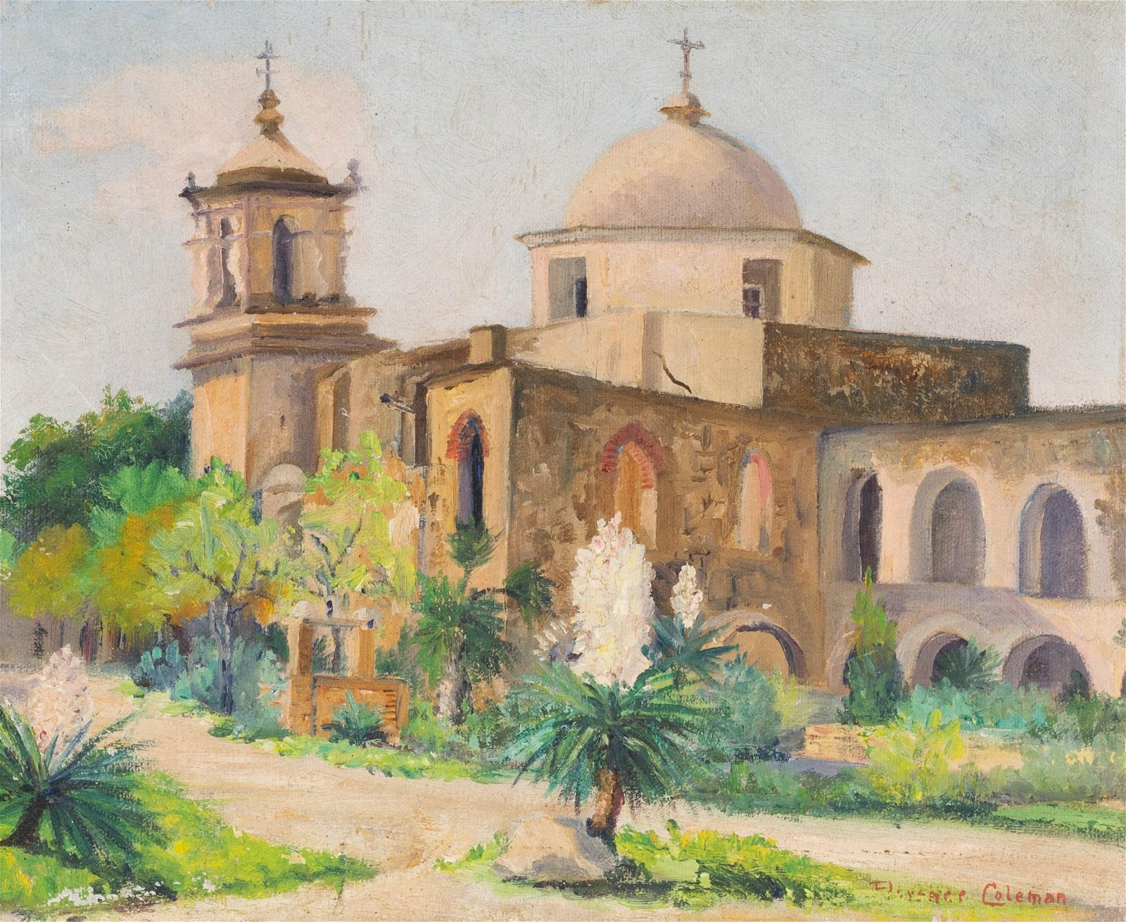 Florence Coleman (1889-1980), Mission San Jose, oil