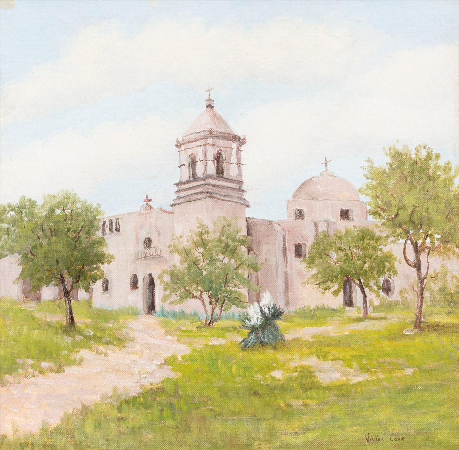 "Vivian Love (1908-1982), ""Mission San Jose"", oil"