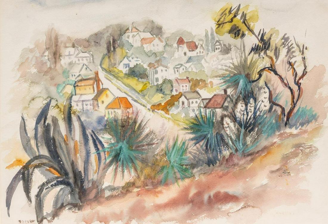 Lola Mueller (1889-1949), Village, watercolor,