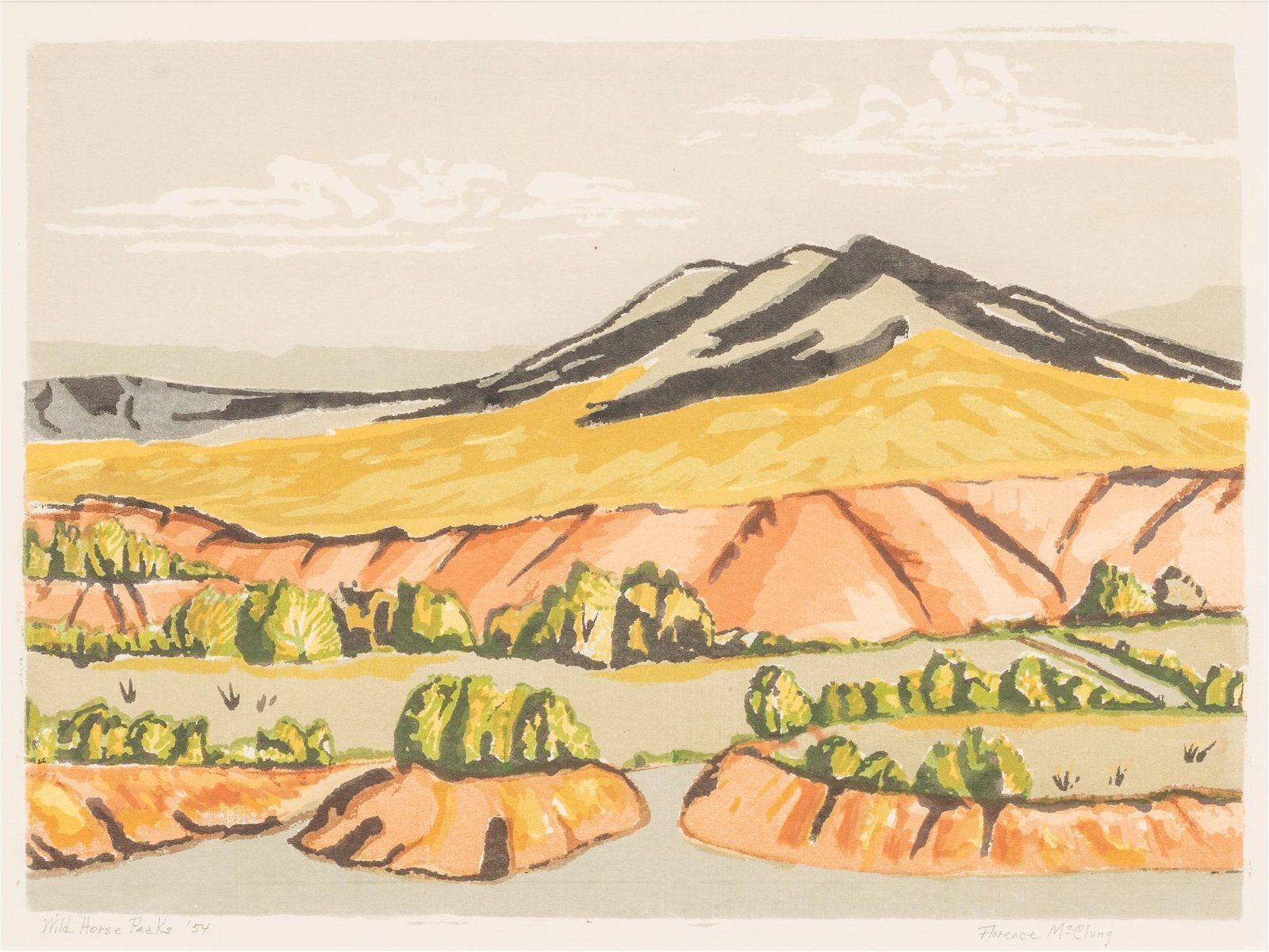"Florence McClung (1894-1992), ""Wild Horse Peaks"", 1954,"