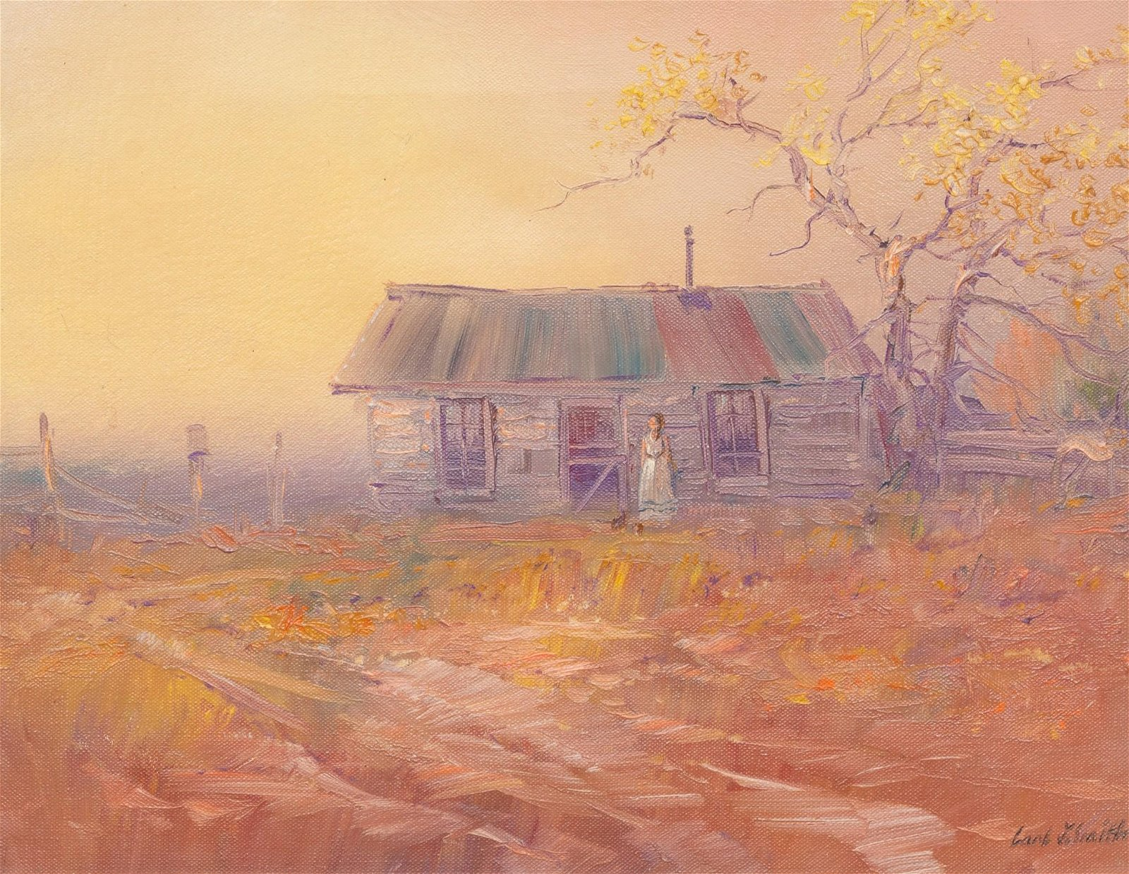 "Carl J. Smith (b. 1928), ""Home and Hearth"", oil"