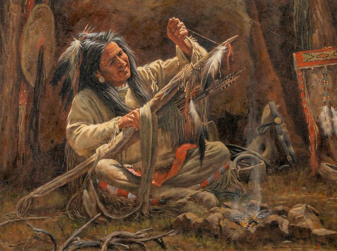 """Dan Bodelson (b. 1949), """"Finishing Touch"""", oil"""