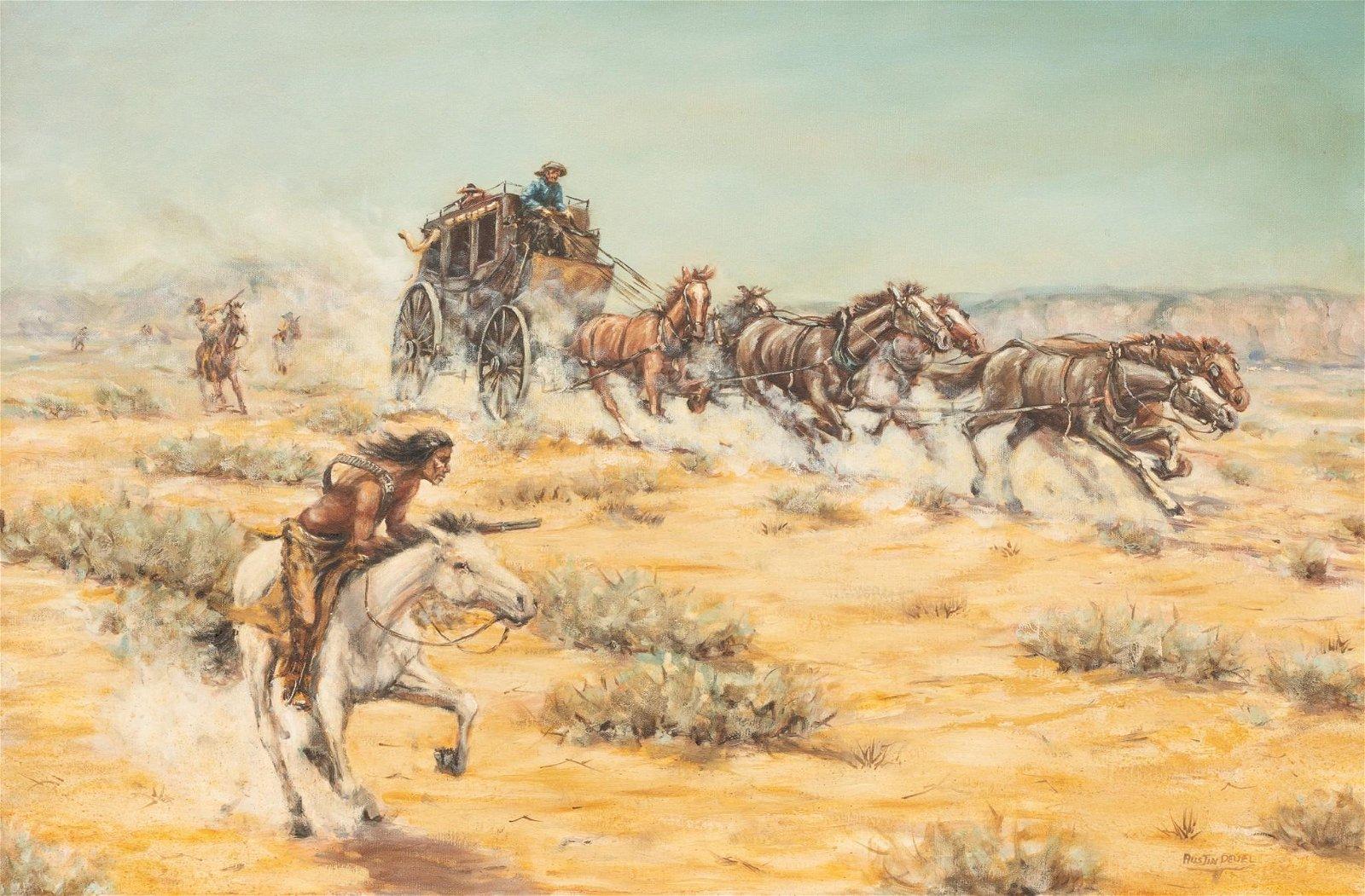 "AustinDeuel (b. 1939), ""Troubles Ahead"", 1967, oil"