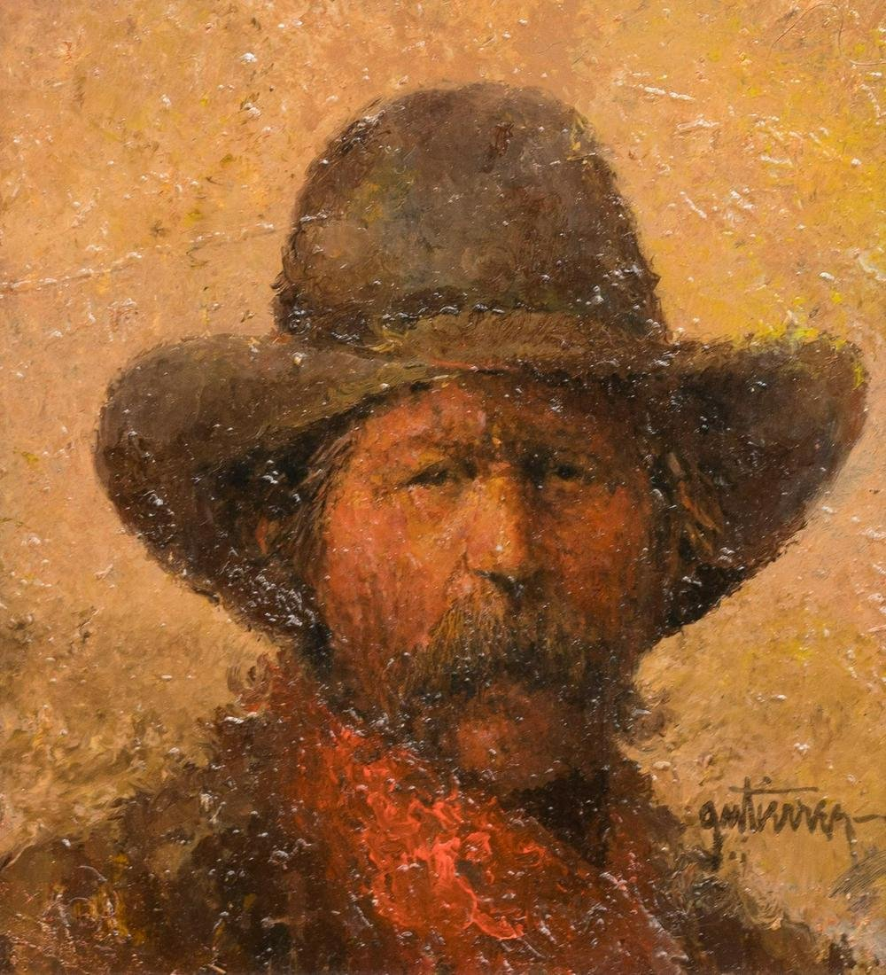Raul Gutierrez (b. 1935), Cowboy with Red Neckerchief,