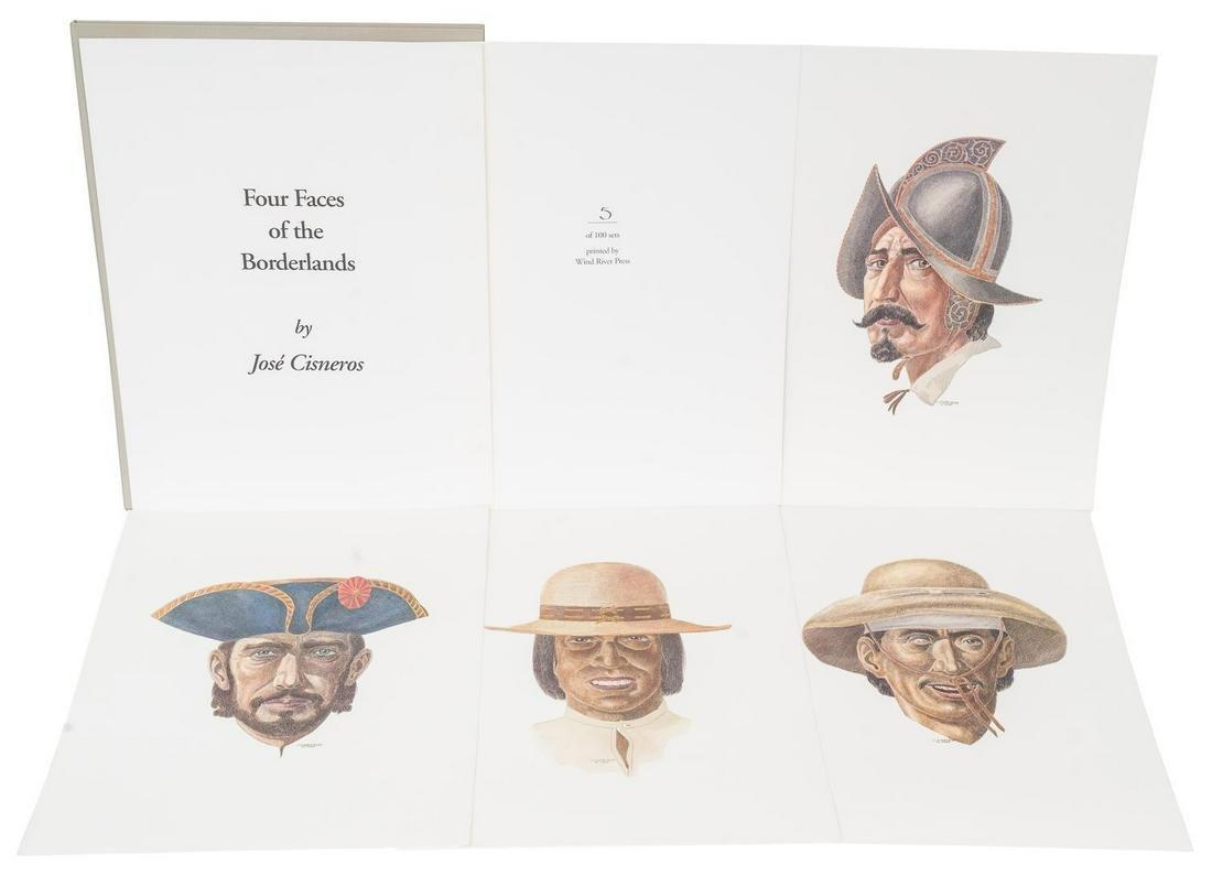 "Jose Cisneros (1910-2009), ""Four Faces..."", portfolio"