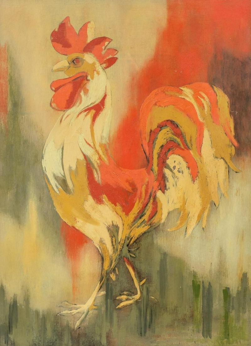 Otis Dozier(1904-1987), Rooster, oil on board,