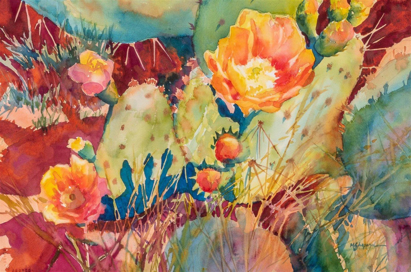 "Mary Shepard, ""Cactus Medley"", watercolor"