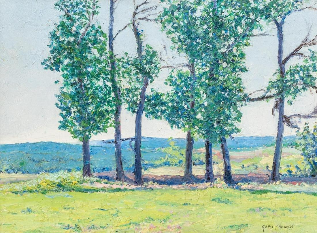Gilbert F. Neumann (1906-1970), Trees, oil on board