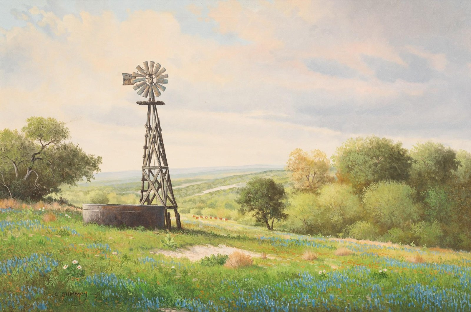 Charles C. Summey (b. 1936), Windmill and Bluebonnets,