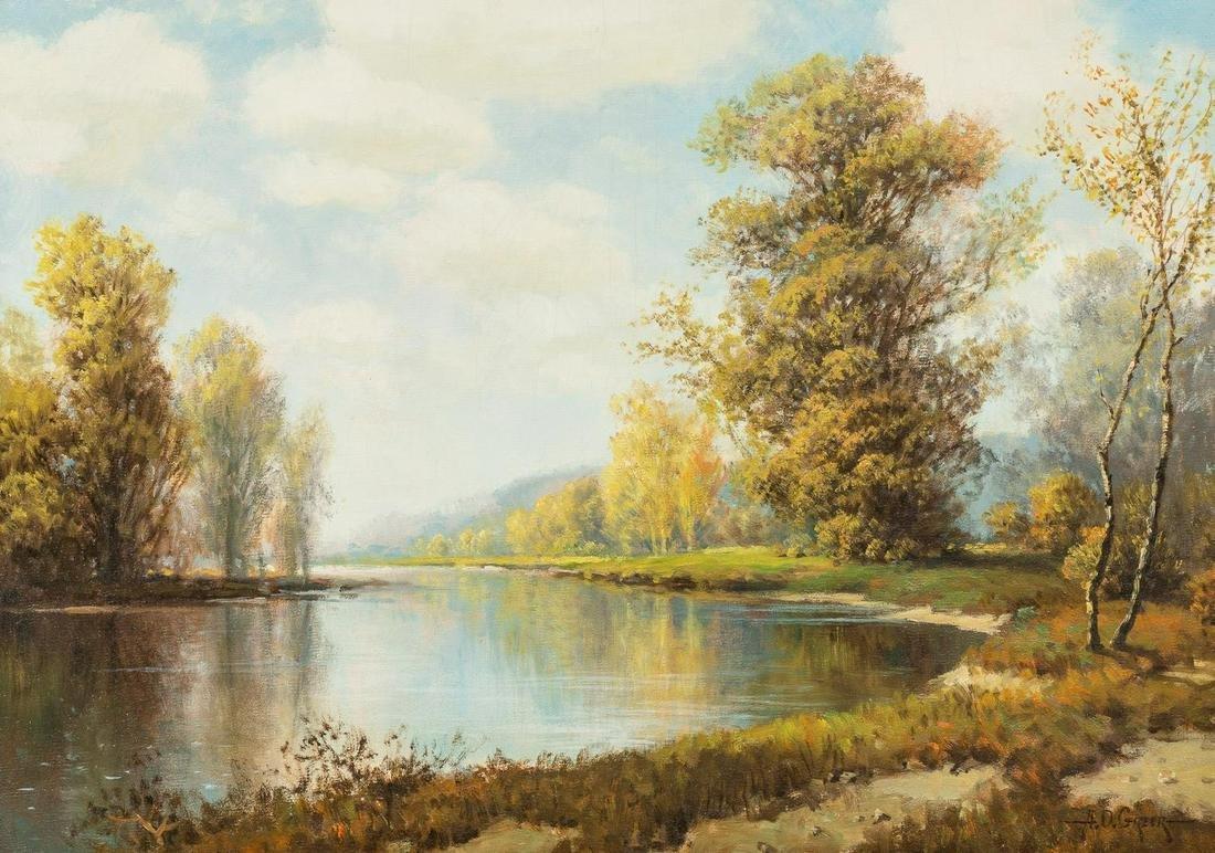 A.D. Greer (1904-1998), River Landscape, oil on canvas,