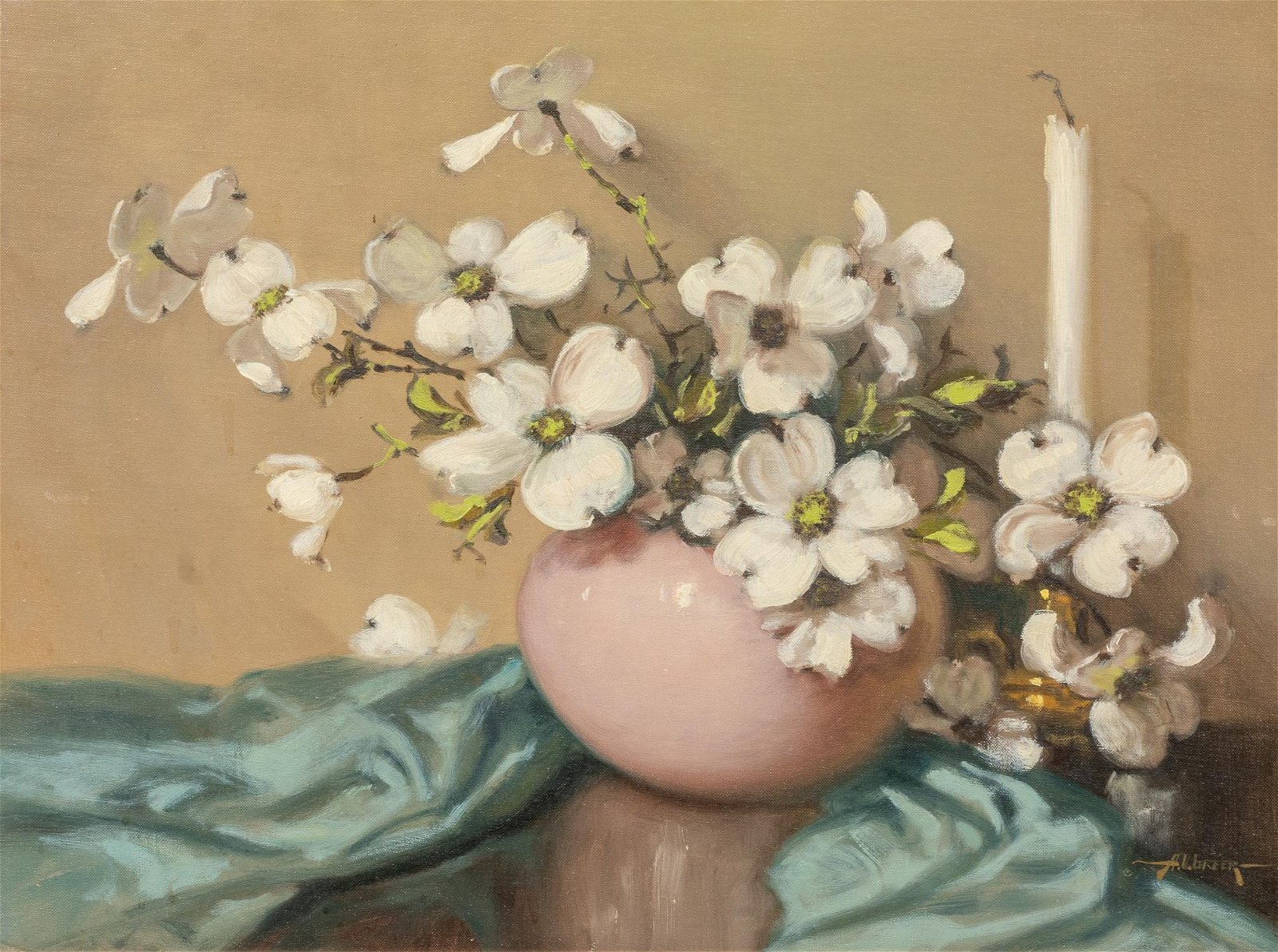 A.D. Greer (1904-1998), Dogwood Blossoms, oil on