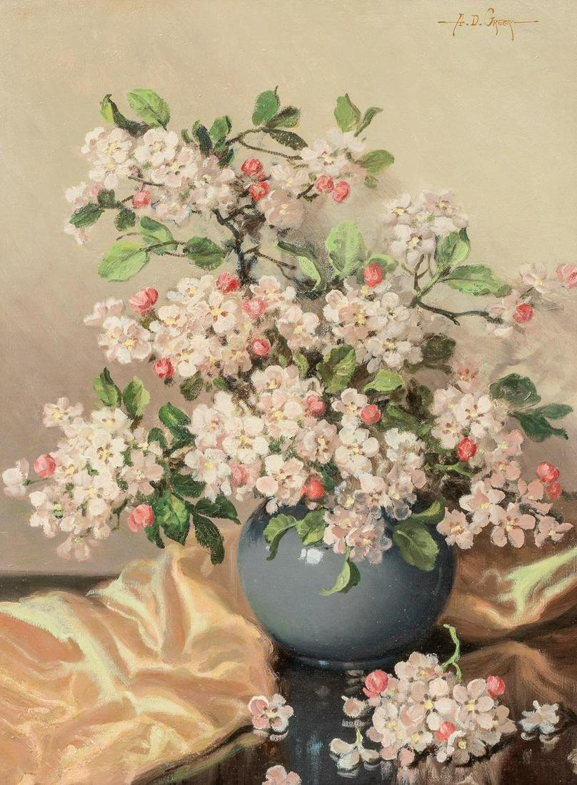 A.D. Greer (1904-1998), Cherry Blossoms, oil on canvas,