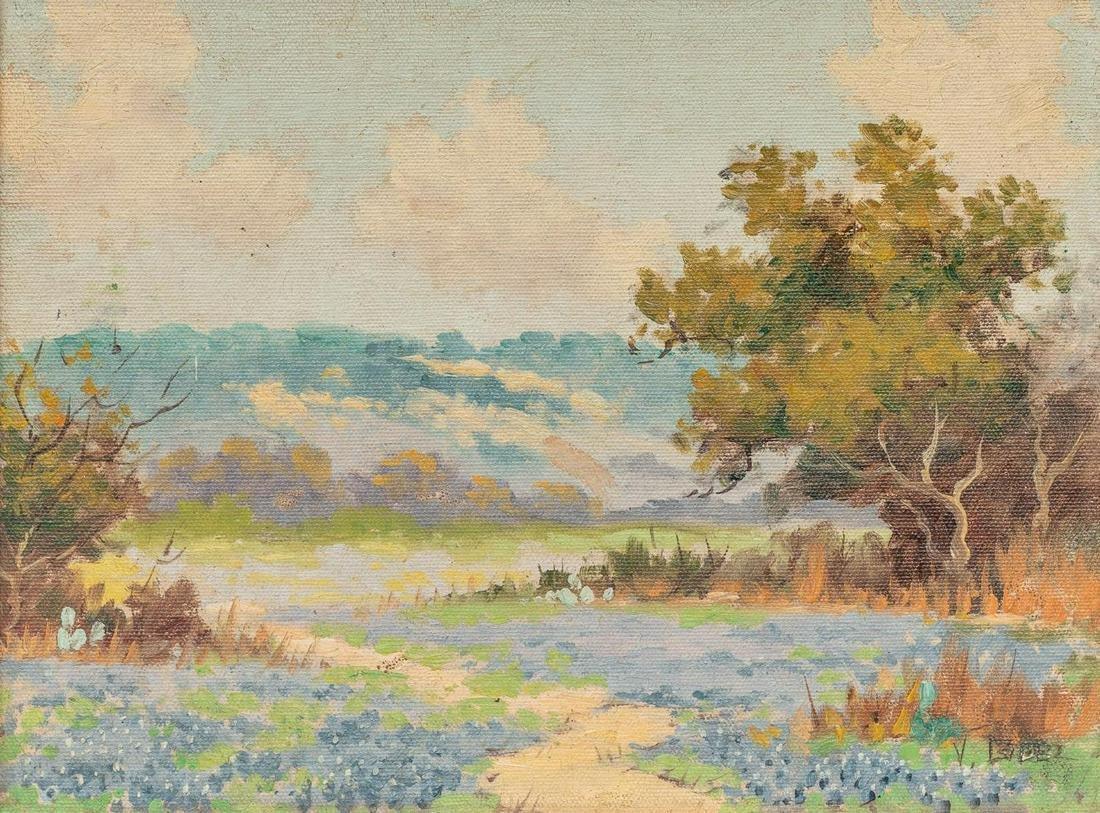 Viviano Lopez (1906-1983), Bluebonnets, oil