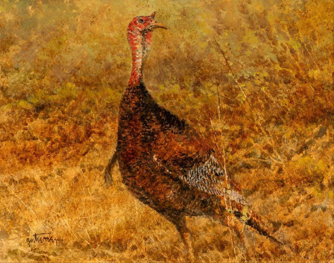 Raul Gutierrez (b. 1935), Lone Turkey, oil on board,