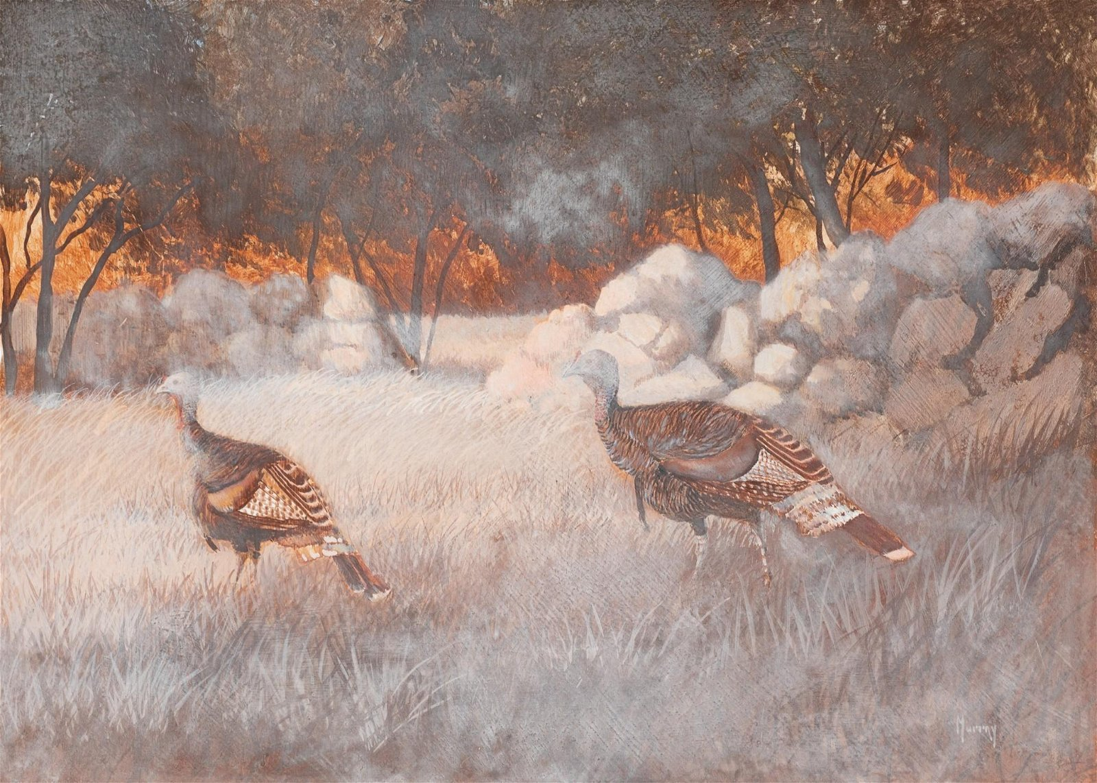 "Roy Murray, ""Turkeys and Old Stone"", oil on board"
