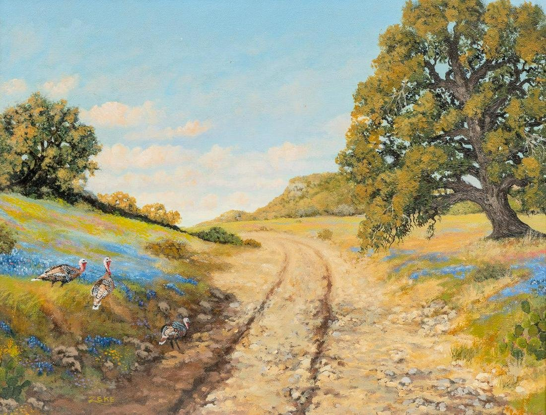 "Ezequiel ""Zeke"" Hernandez (b. 1940), Turkeys Crossing"