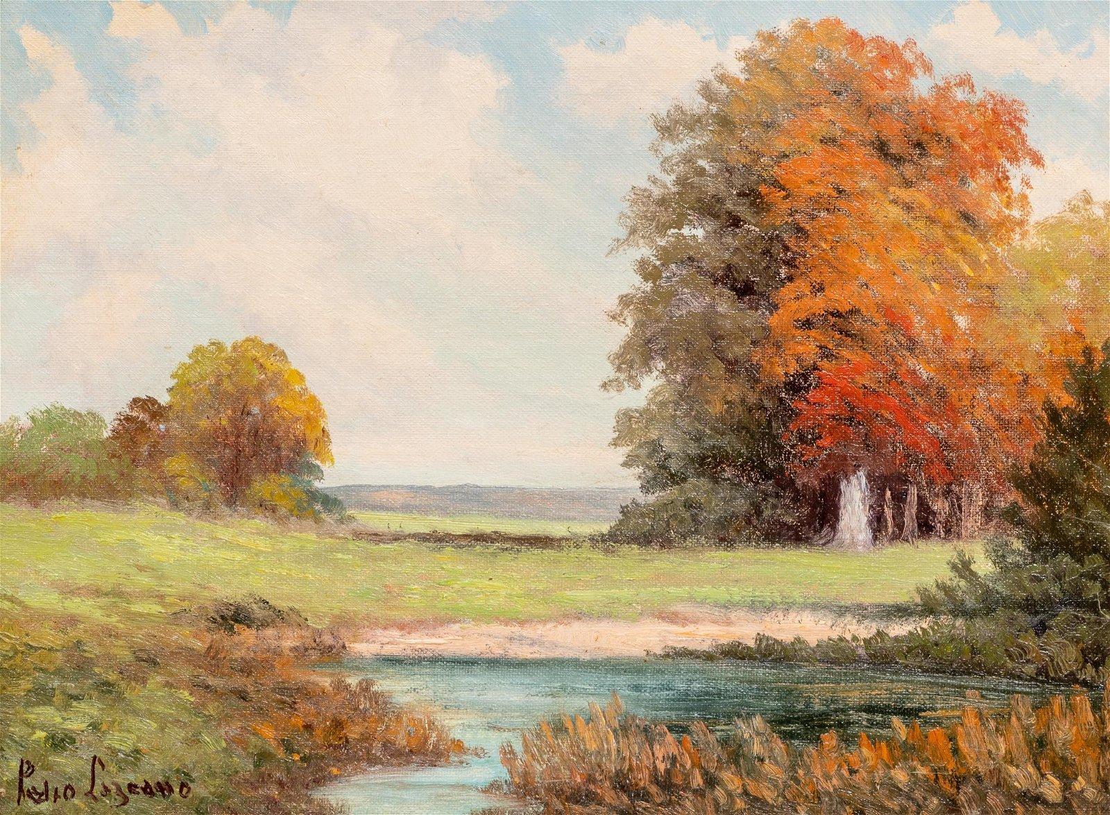 Pedro Lazcano (1909-1973), Riverside Autumn, oil
