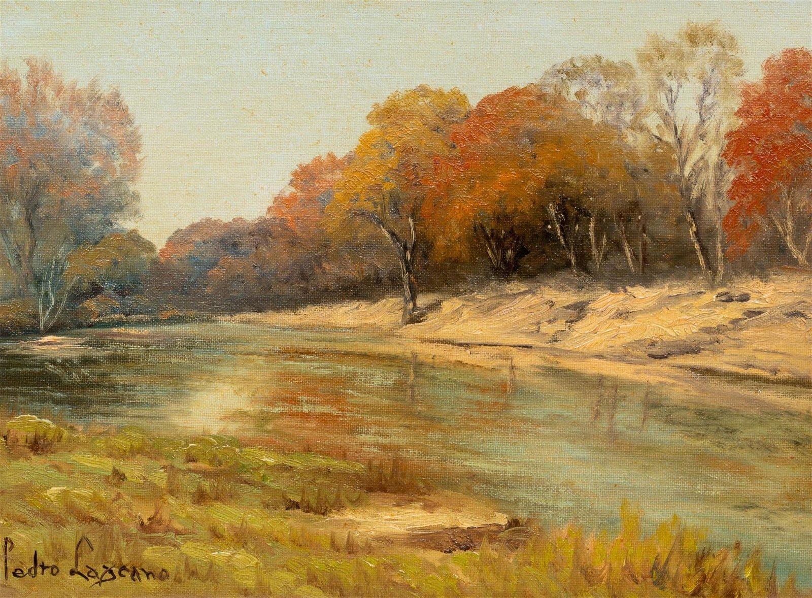 Pedro Lazcano (1909-1973), River Scene, oil