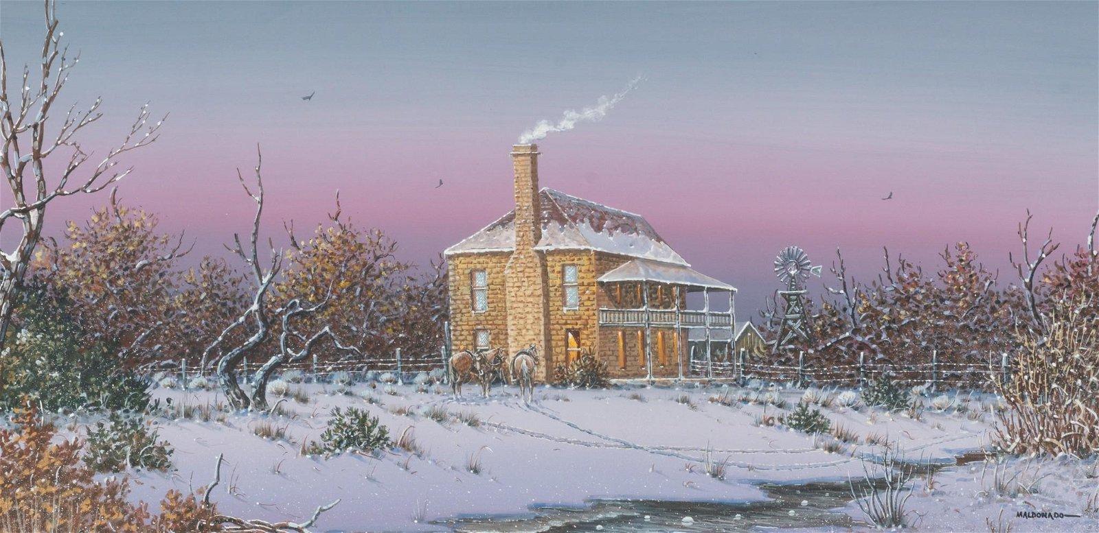 Daniel Maldonado (d. 2019), Snowy Cabin, watercolor,