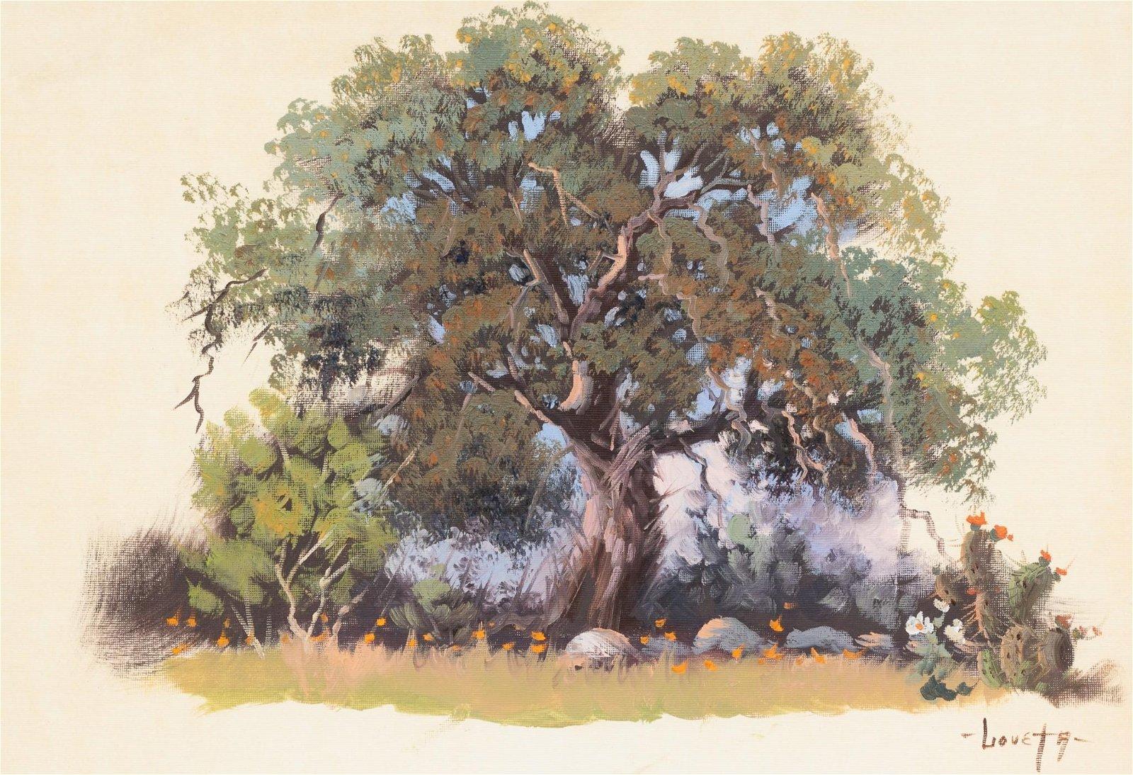 Loveta Strickland (b. 1928), Hill Country Live Oak, oil