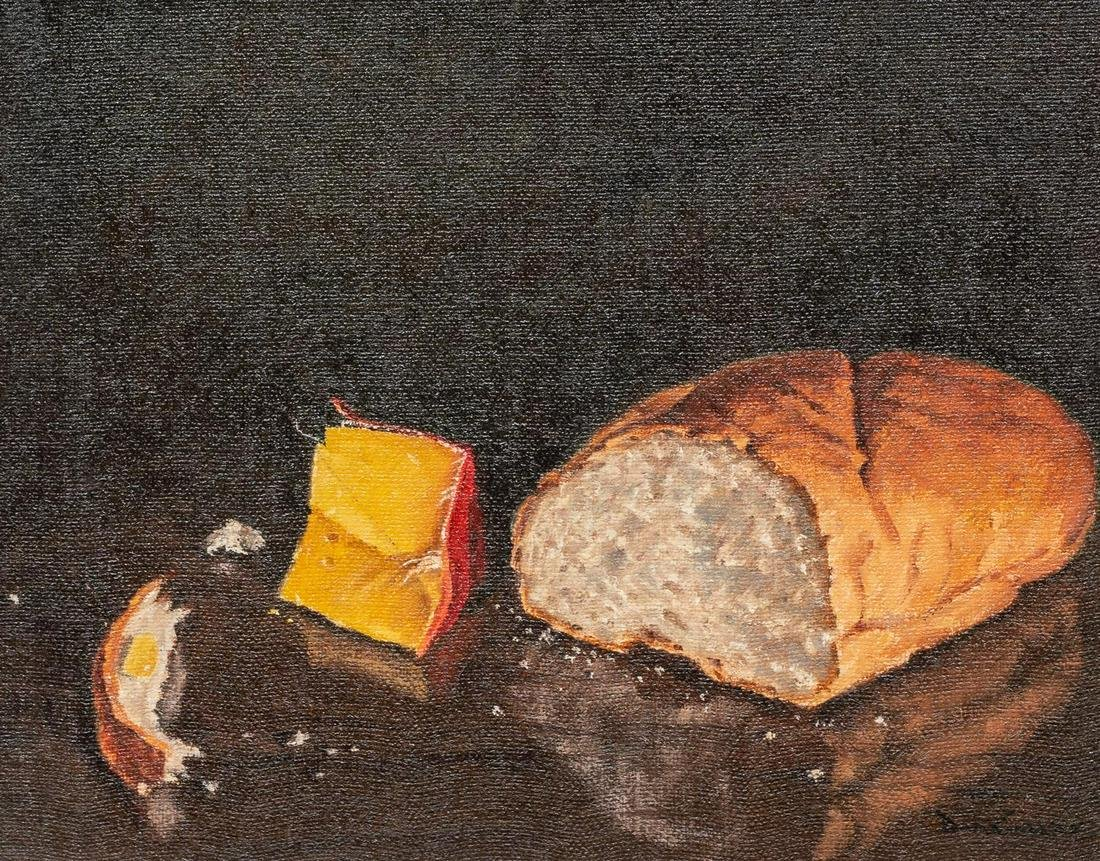 """David Sanders (1936-2013), """"Bread and Cheese"""", oil"""