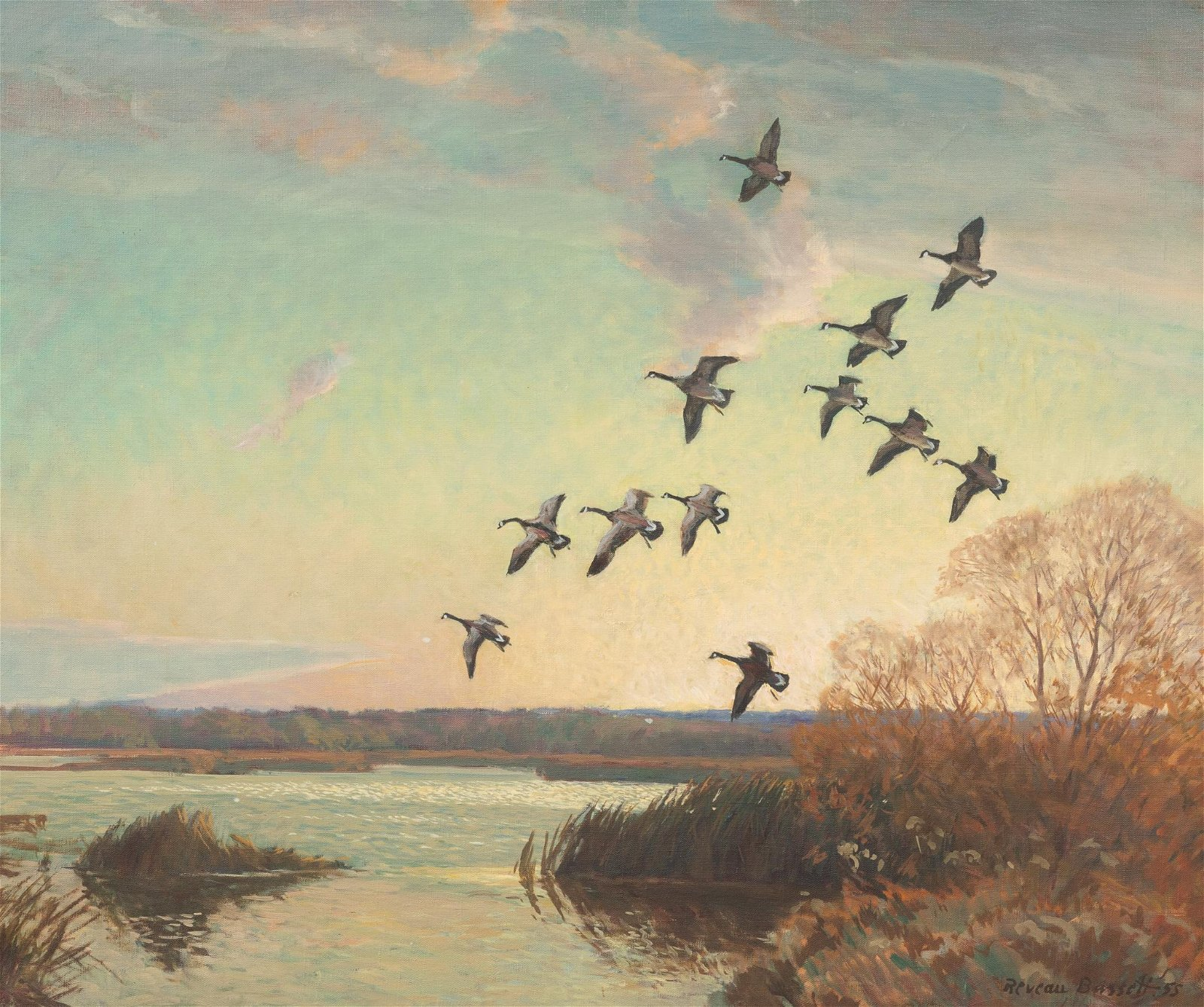 Reveau Bassett  (1897-1981), Geese in Flight, 1955, oil