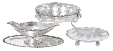 Group of 4 Pieces of Sterling Serving Dishes