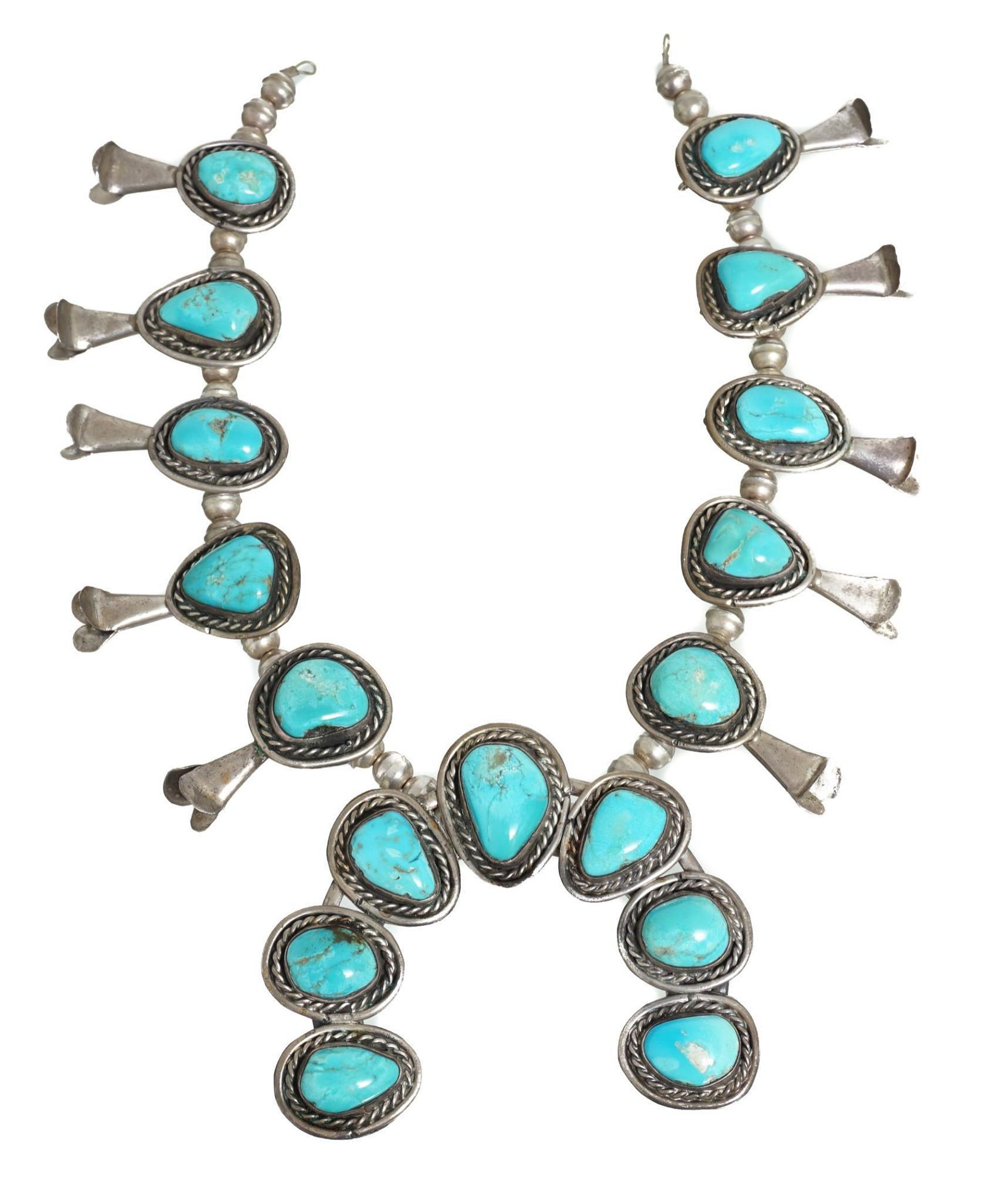 Squash Blossom Necklace w/ Sterling Silver & Turquoise