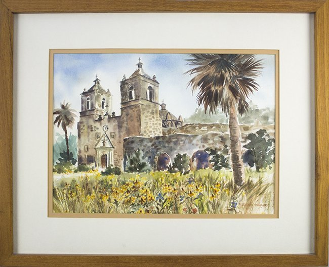 Maurine Maher , Mission Concepcion , watercolor on