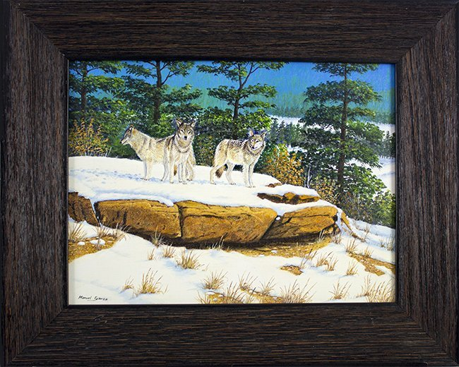 Manuel Garza, Wolf pack, oil on canvas