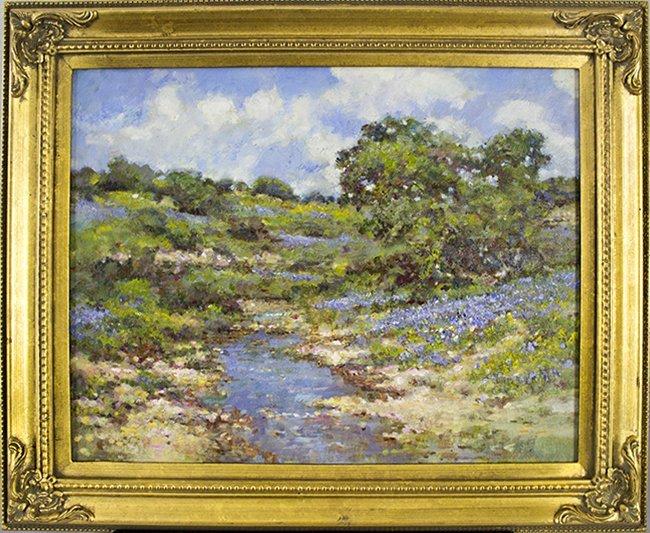 Robert Hamman, Bluebonnet Creek, oil on