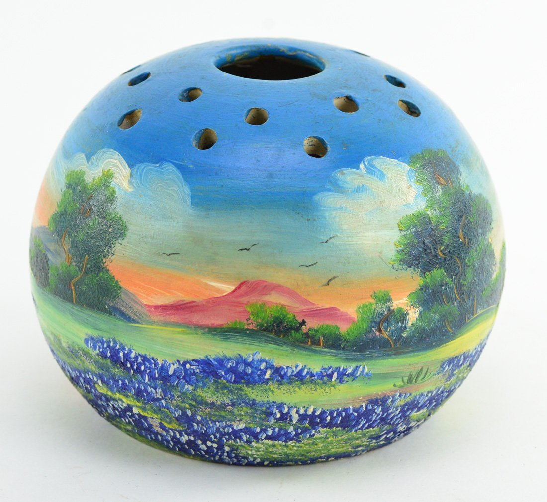 "Meyer painted bluebonnets pottery flower frog vase 6"" - 2"