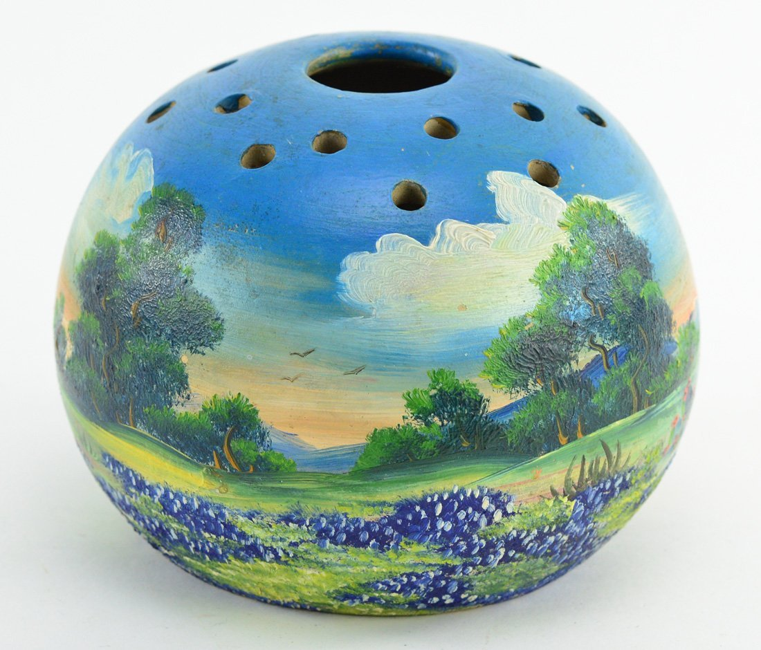 "Meyer painted bluebonnets pottery flower frog vase 6"" - 3"