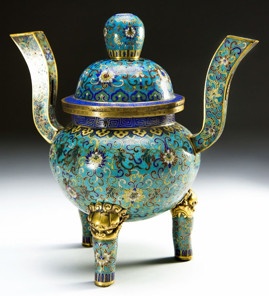 19th century cloisonne censer with gilding