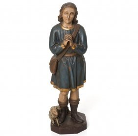 Carved Wood And Polychrome Figure, Shepherd With Lamb