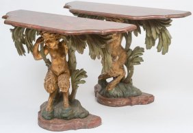 Carved & Gilt Opposing Figural Console Tables, Satyrs