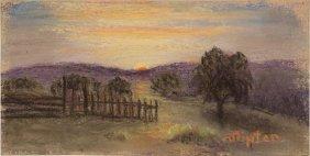 Jocelia Tipton (1895-1996), Texas Sunset, Pastel