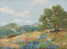 Robert Harrison, Texas Bluebonnets, Oil On Canvas