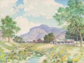 "Lewis Teel (1883-1960), ""hacienda - New Mexico"", Oil"