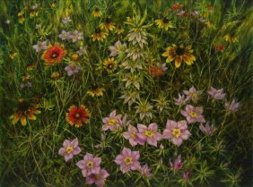 Helen Hunter (1920-2003), Texas Wildflowers, 1976, Oil